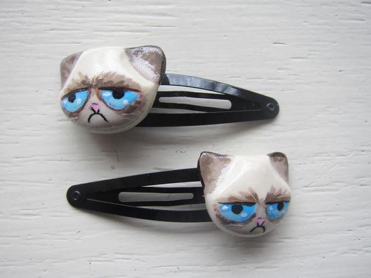 Drawn grumpy cat polymer clay Accessories Set best Grumpy Hair
