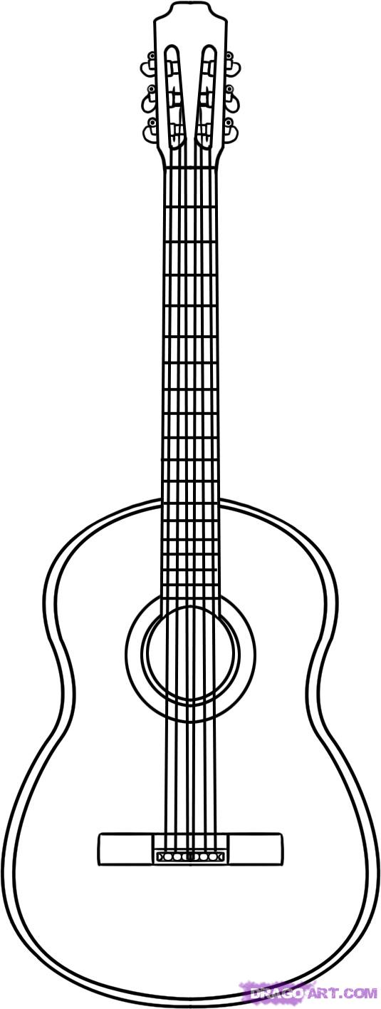 Drawn musician line drawing Draw step To guitar to