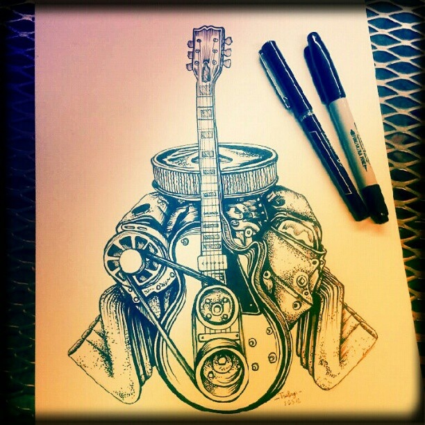 Drawn guitar car A images Tattoos Gibson at