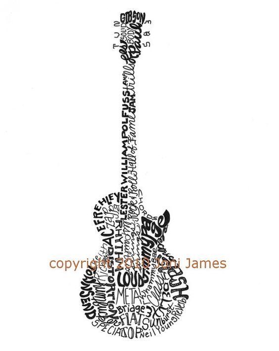 Drawn guitar gibson guitar Tyopography Paul style Drawing Art