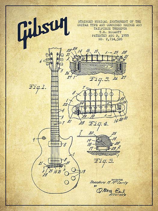 Drawn guitar gibson guitar Vintage Guitar Patent Gibson Art