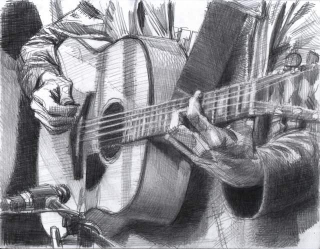 Drawn guitar guitar player Recent ink on a Artwork
