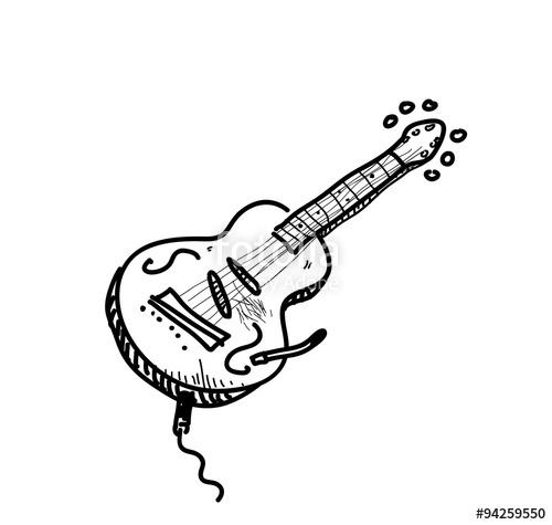 Drawn guitar illustration Illustration a doodle hand guitar