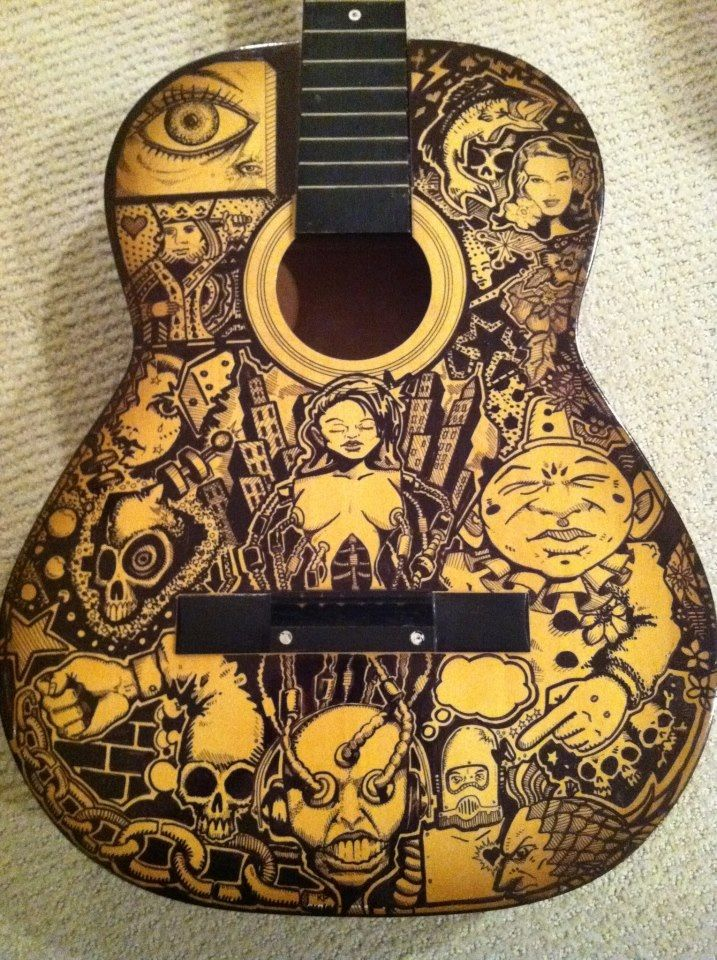 Drawn guitar magic marker By crazy pen ink on