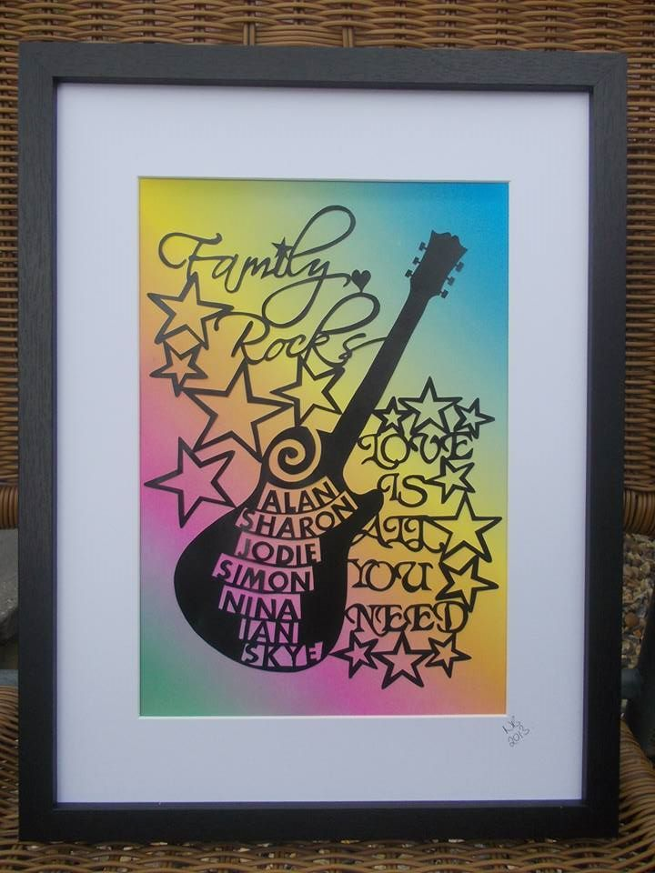 Drawn guitar paper About 'Family cutting guitar Pinterest