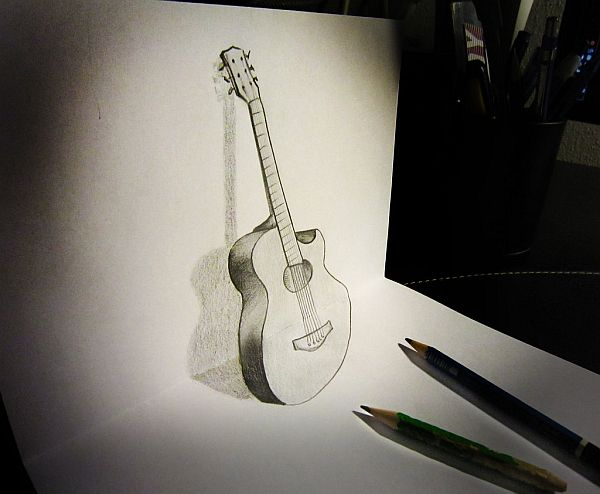 Drawn guitar paper Pencil Guitar Anamorphosis Pixel77 Art