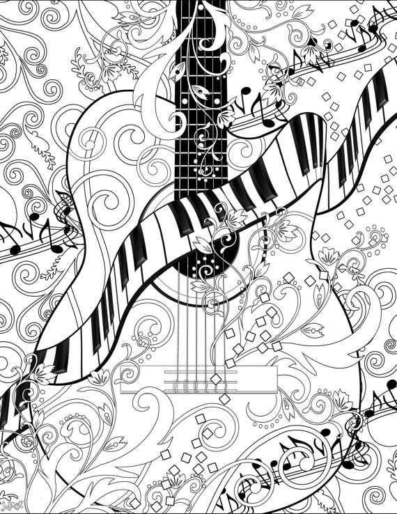 Piano clipart coloring page Coloring Adult JuleezGallery  Page