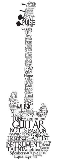 Drawn guitar the word love Words more best With images
