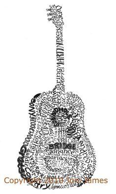 Drawn guitar the word love Calligrams Artsy designs illustration Casey