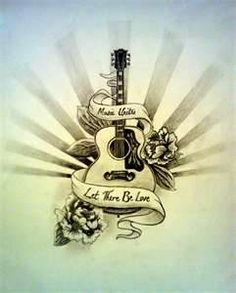 Drawn guitar the word love And Guitar art Tattoos With