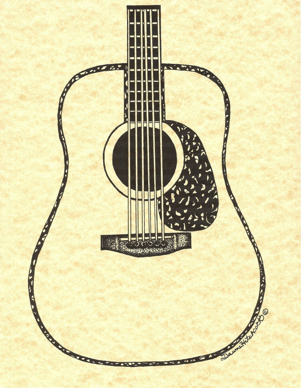 Drawn guitar vintage guitar Ink n Vintage Pen Art
