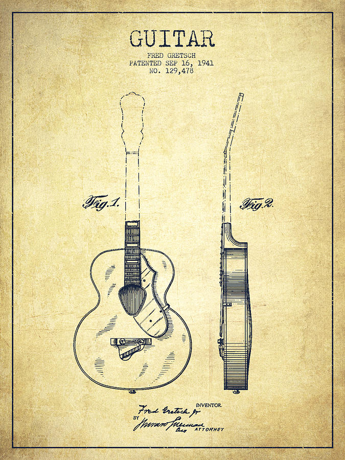 Drawn guitar vintage guitar From Drawing Ideas Patent Pictures