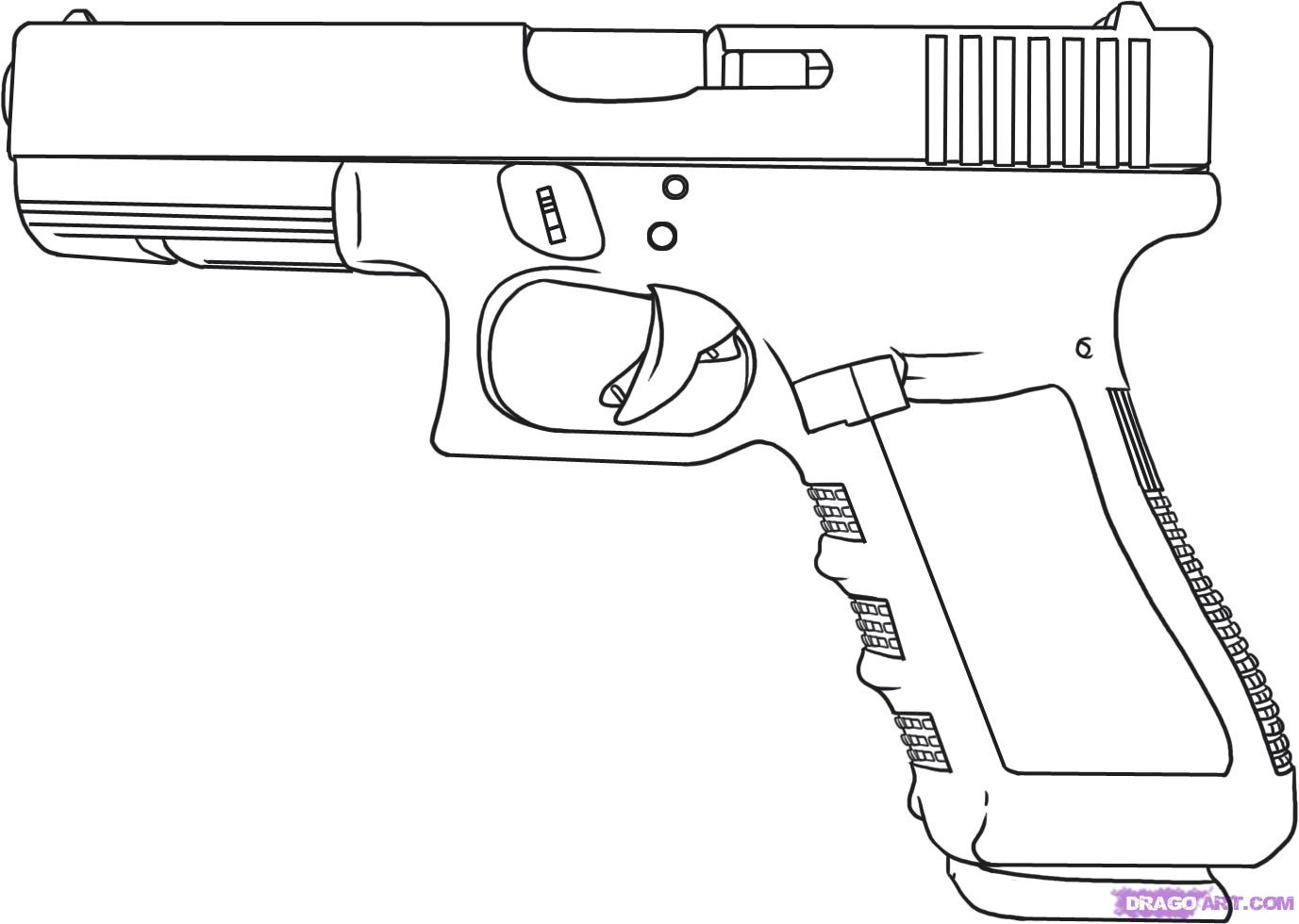 Drawn pistol old gun A glock How by to