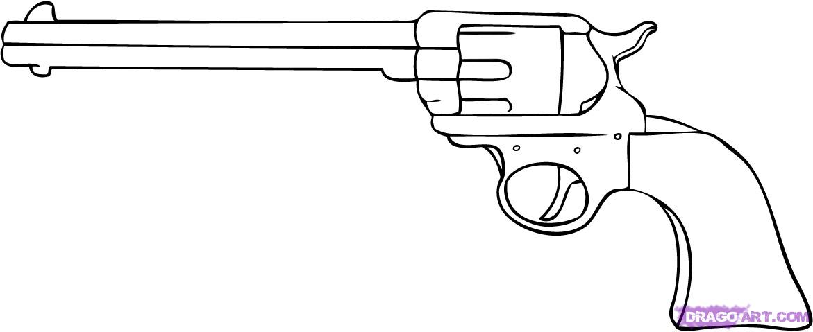 Drawn pistol gun bullet On
