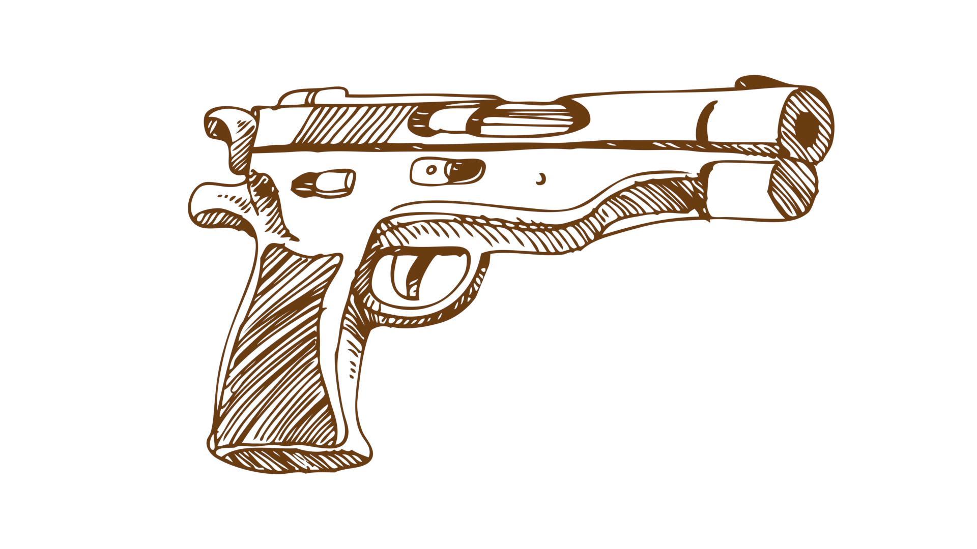 Drawn gun A bank Man drawn of