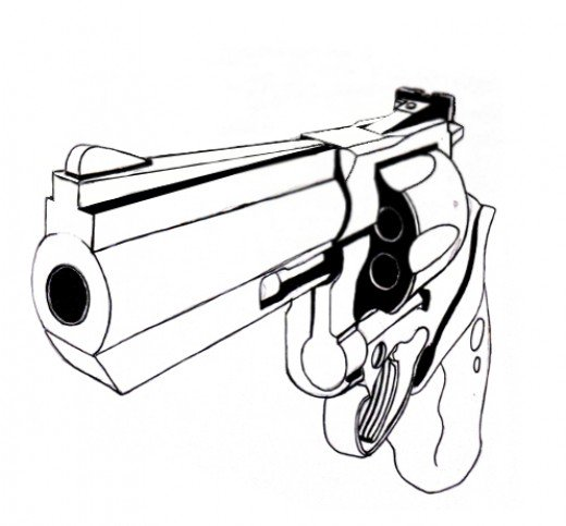Drawn gun A drawing used how gun