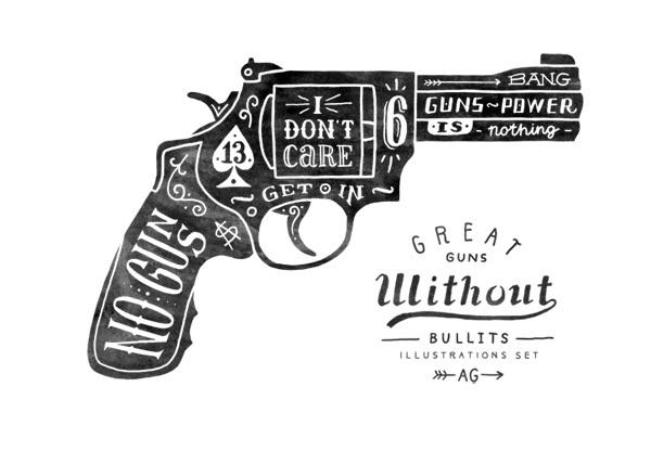 Drawn gun Weapon Typography Typography Typostrate weapon