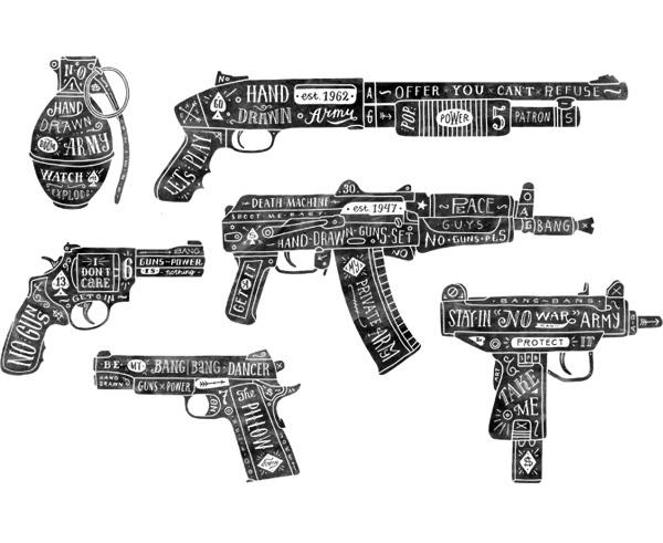 Drawn gun Behance Hand drawn  on
