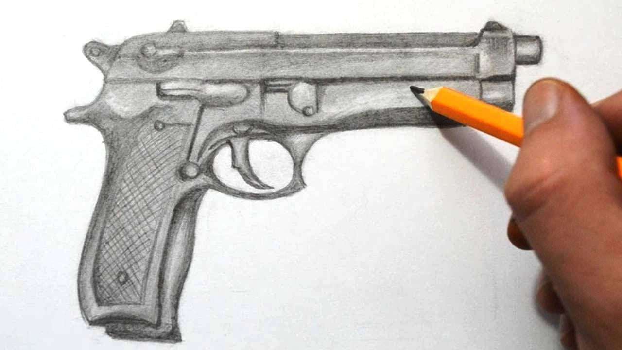 Drawn pistol pencil drawing YouTube  to Gun a