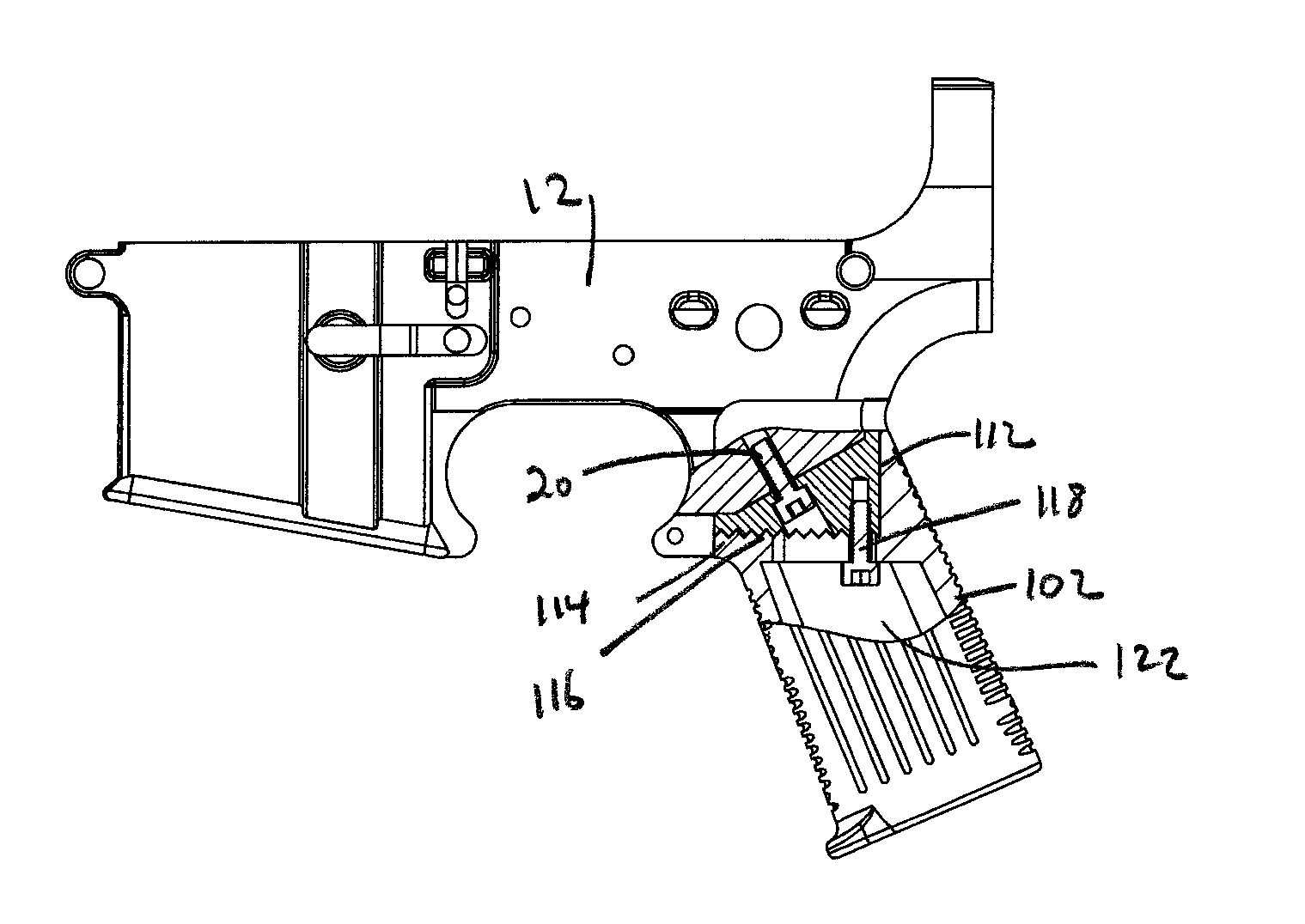 Drawn gun ar 15 Google Patent US8752323 Drawing grip