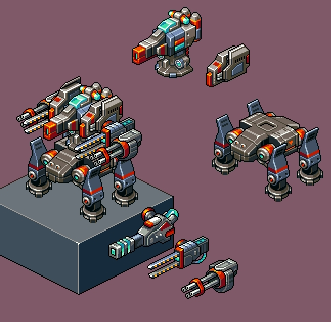 Drawn gun isometric pixel Pixel game Antraxx isometric battletech