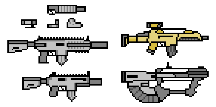 Drawn gun isometric pixel Gun Skeleton Pixel by (JP1)