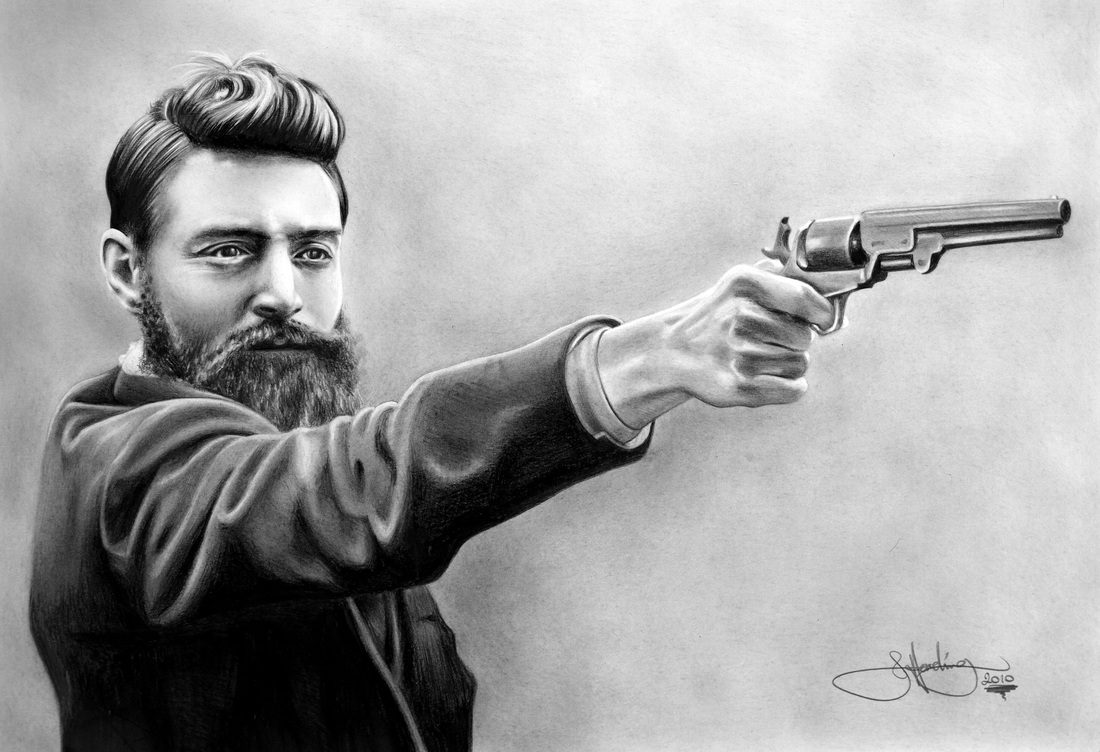Drawn gun ned kelly John Harding Kelly Artist Ned