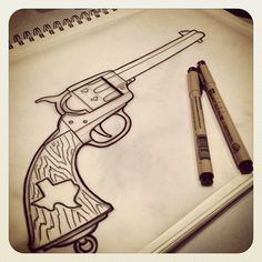 Drawn gun old style #2