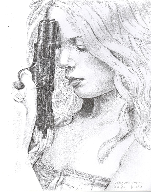 Drawn gun pencil Cool deviantART Girl sketch with