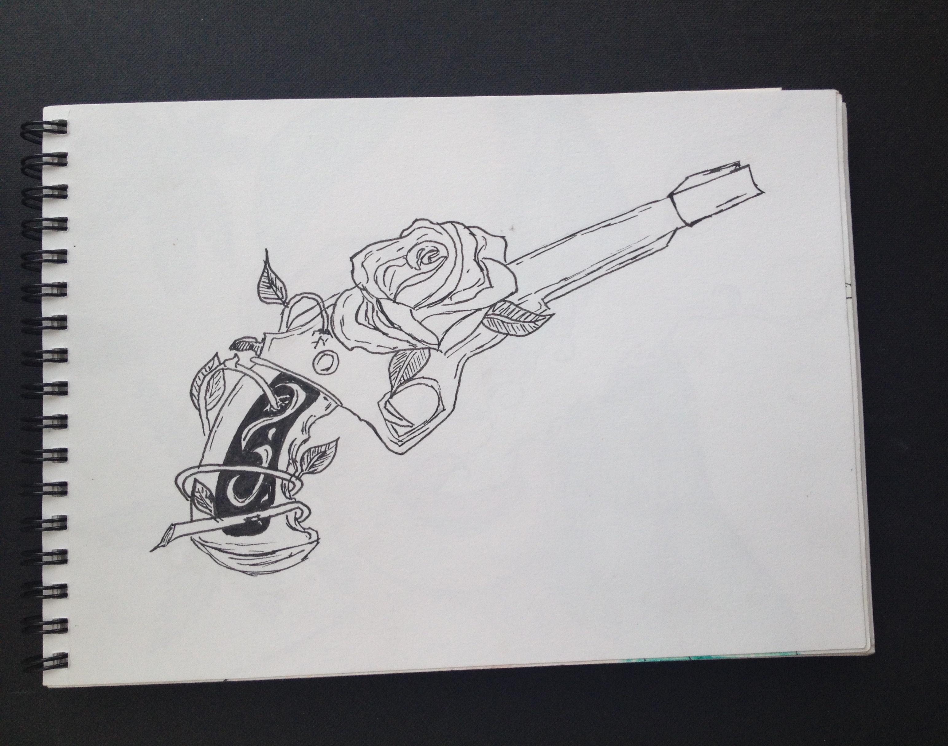 Drawn gun pencil Rose Bella A Passion revolver