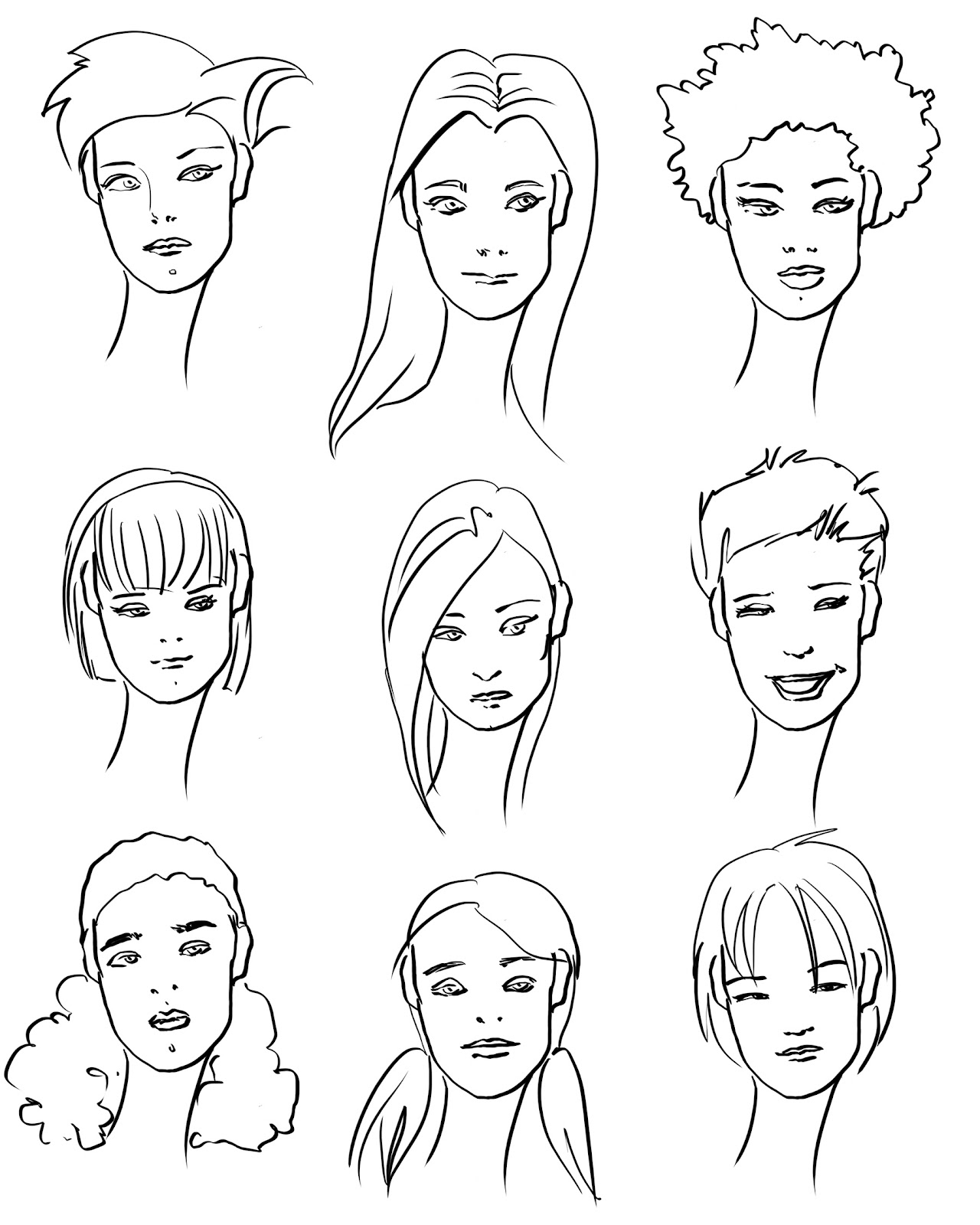 Drawn hair fashion drawing #15