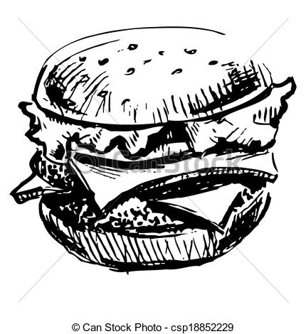 Burger clipart black and white Of juicy  juicy Delicious