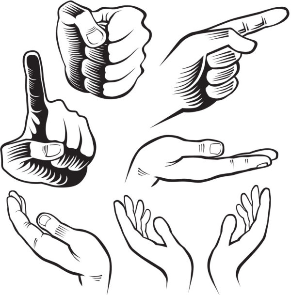 Drawn hand gesture Vector free design drawn design