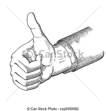 Drawn hand gesture Style the gesture Vector drawn