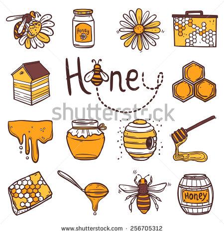 Drawn hand honey Icons wax Honey isolated cell