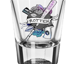 Drawn harley quinn gun Roses Shot Custom Etsy Glass
