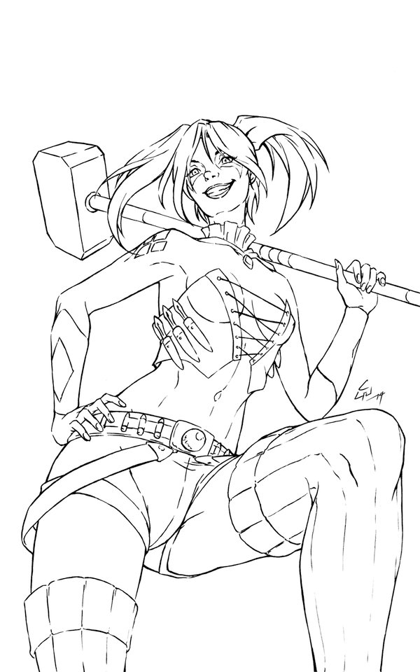 Drawn harley quinn line art : New art] (lines) batman
