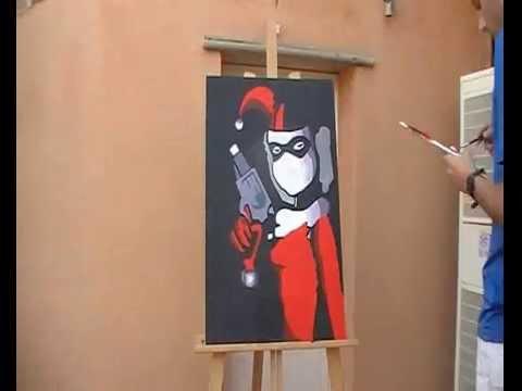 Drawn harley quinn pop art Acrylic // painting Timelapse YouTube
