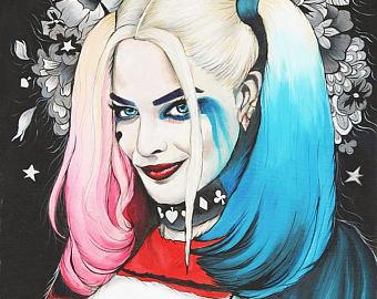 Drawn harley quinn pop art Quinn Flowers Ghost Etsy Harley