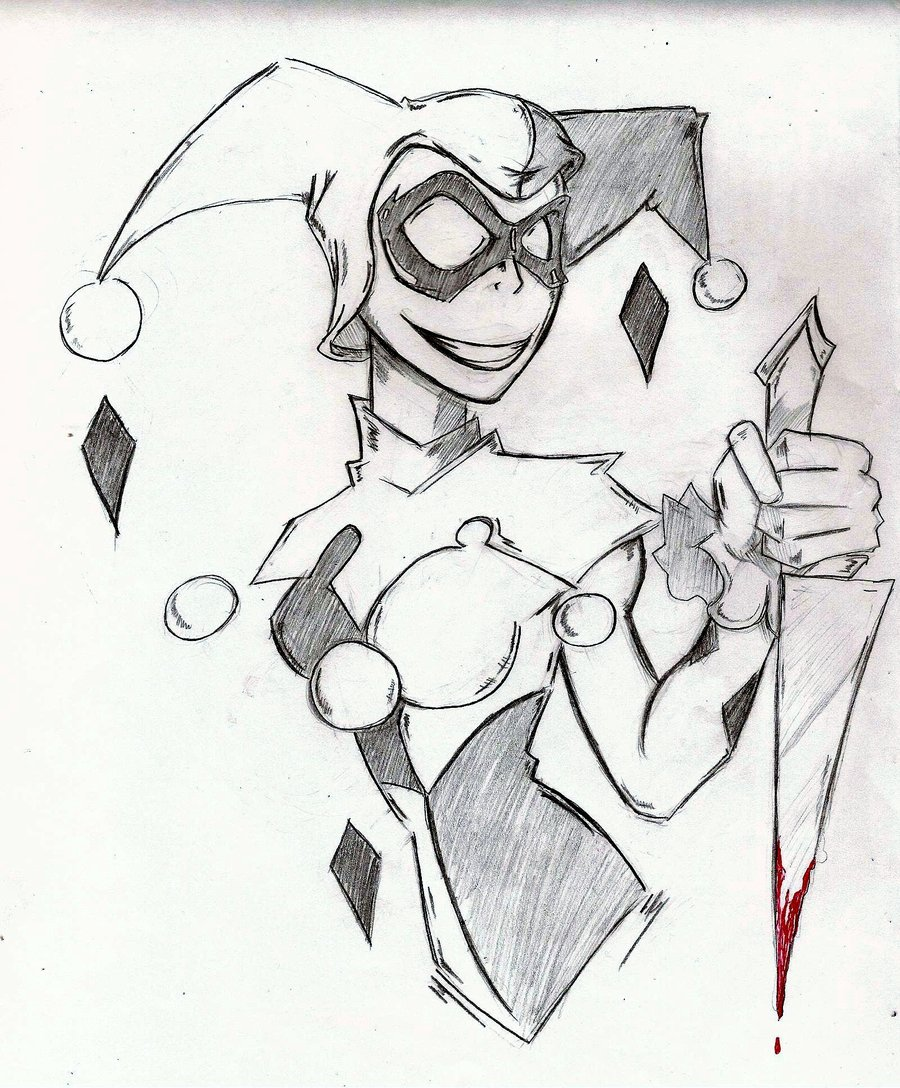 Drawn harley quinn sketch By Harley Diseased  Quinn