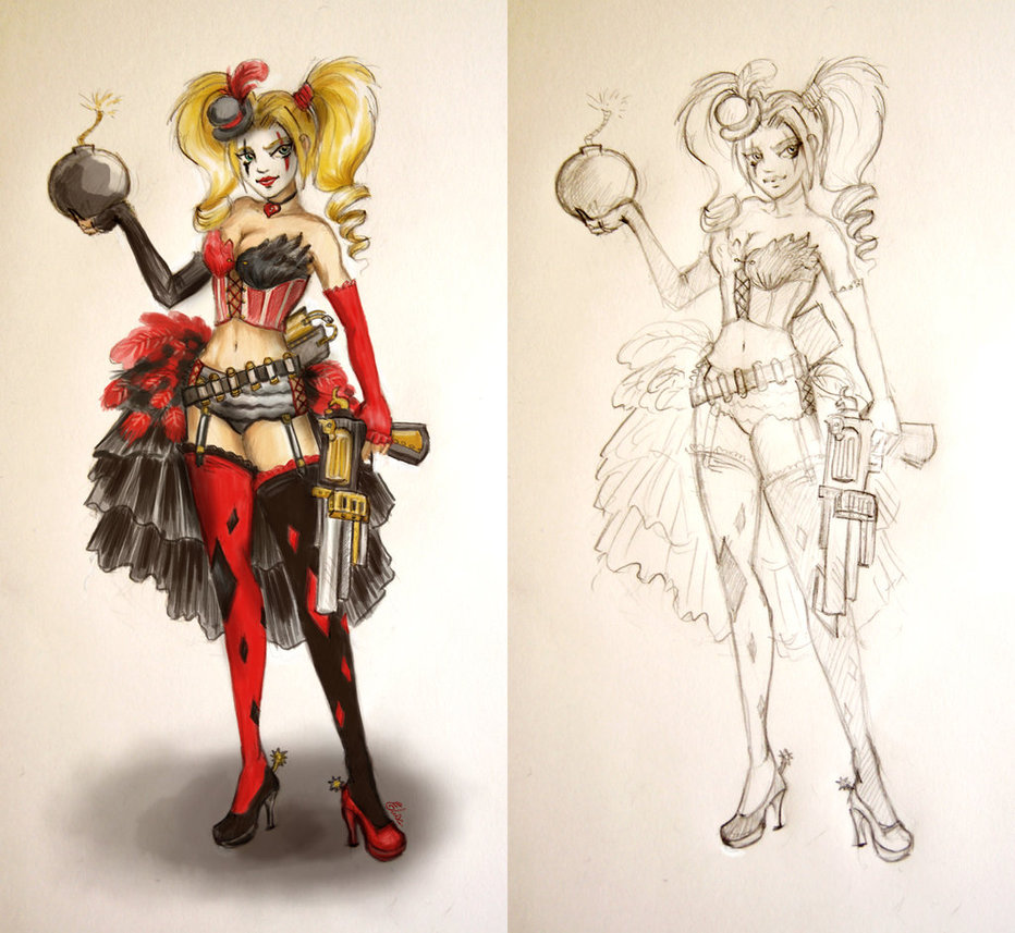Drawn harley quinn steampunk Selewyn DeviantArt Burlesque Quinn by