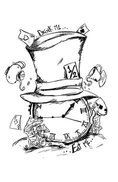 Drawn hat alice in wonderland By Tattoo colours Hatter via