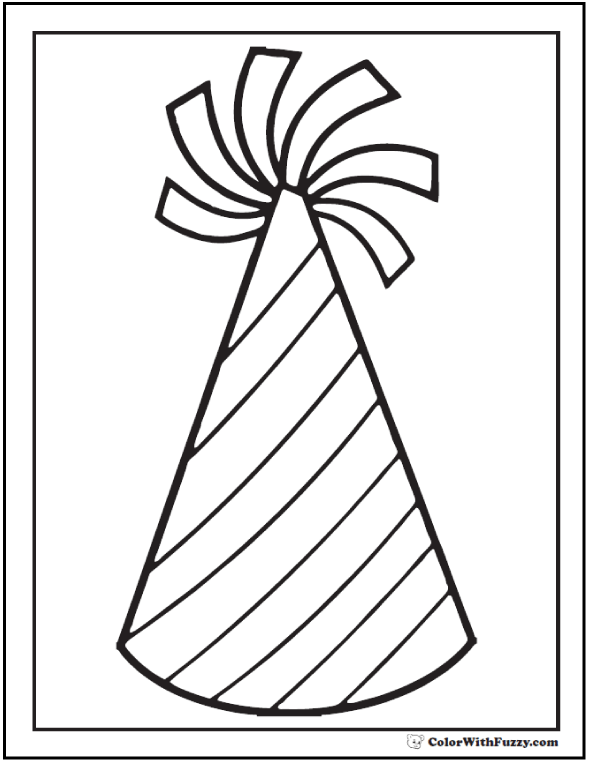 Drawn hat birthday hat Coloring party birthday pages Birthday