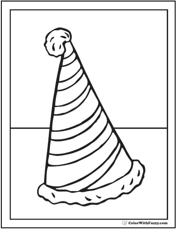 Drawn hat birthday hat Birthday PDF Birthday Striped Coloring