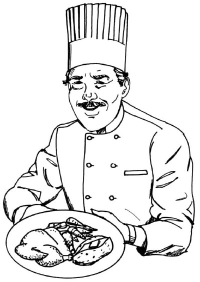 Drawn hat chef Chef tall chef to in
