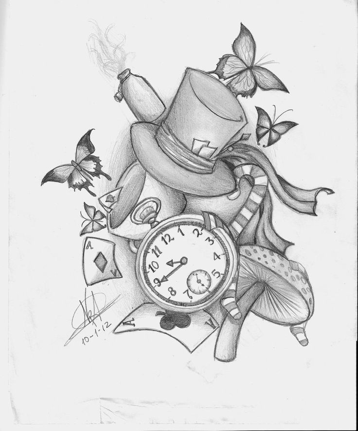 Drawn alice in wonderland mad hatter The Wonderland hatter Tattoo 25+