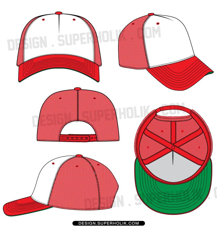 Drawn hat trucker Template Fashion fashion Vector Vector