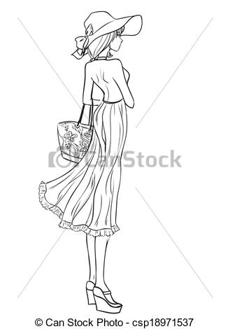 Drawn hat woman vector In  long in of