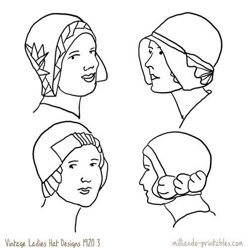 Drawn hat womens hat Ladies www 1920's Ladies milliande
