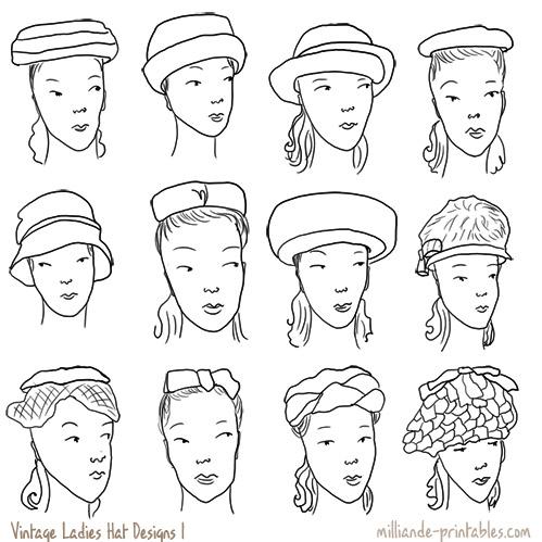Drawn hat womens hat Vintage milliande Vintage Hat printables
